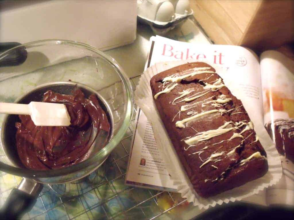 Half-decorated double chocolate loaf cake