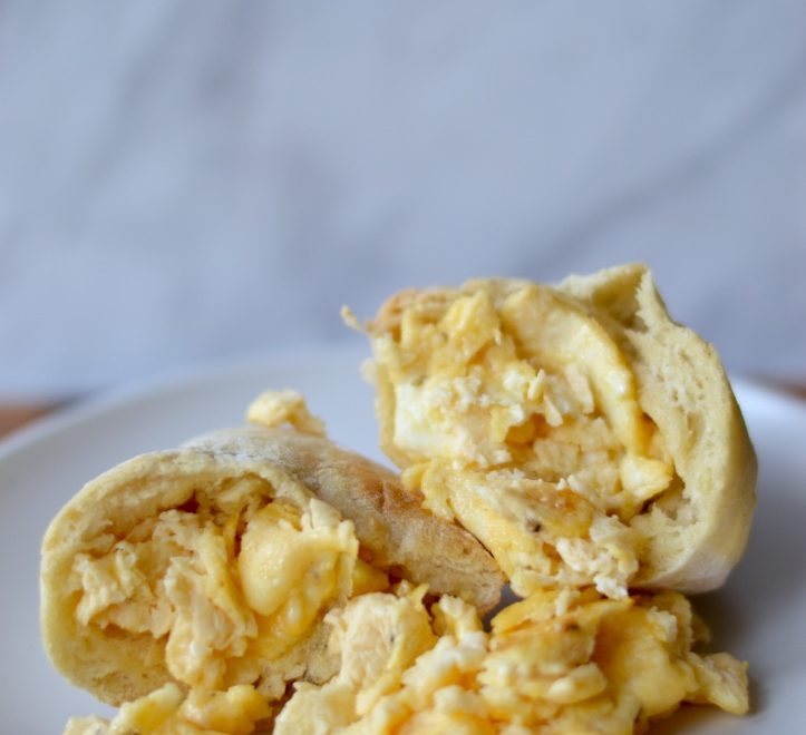 homemade pita bread and scrambled eggs