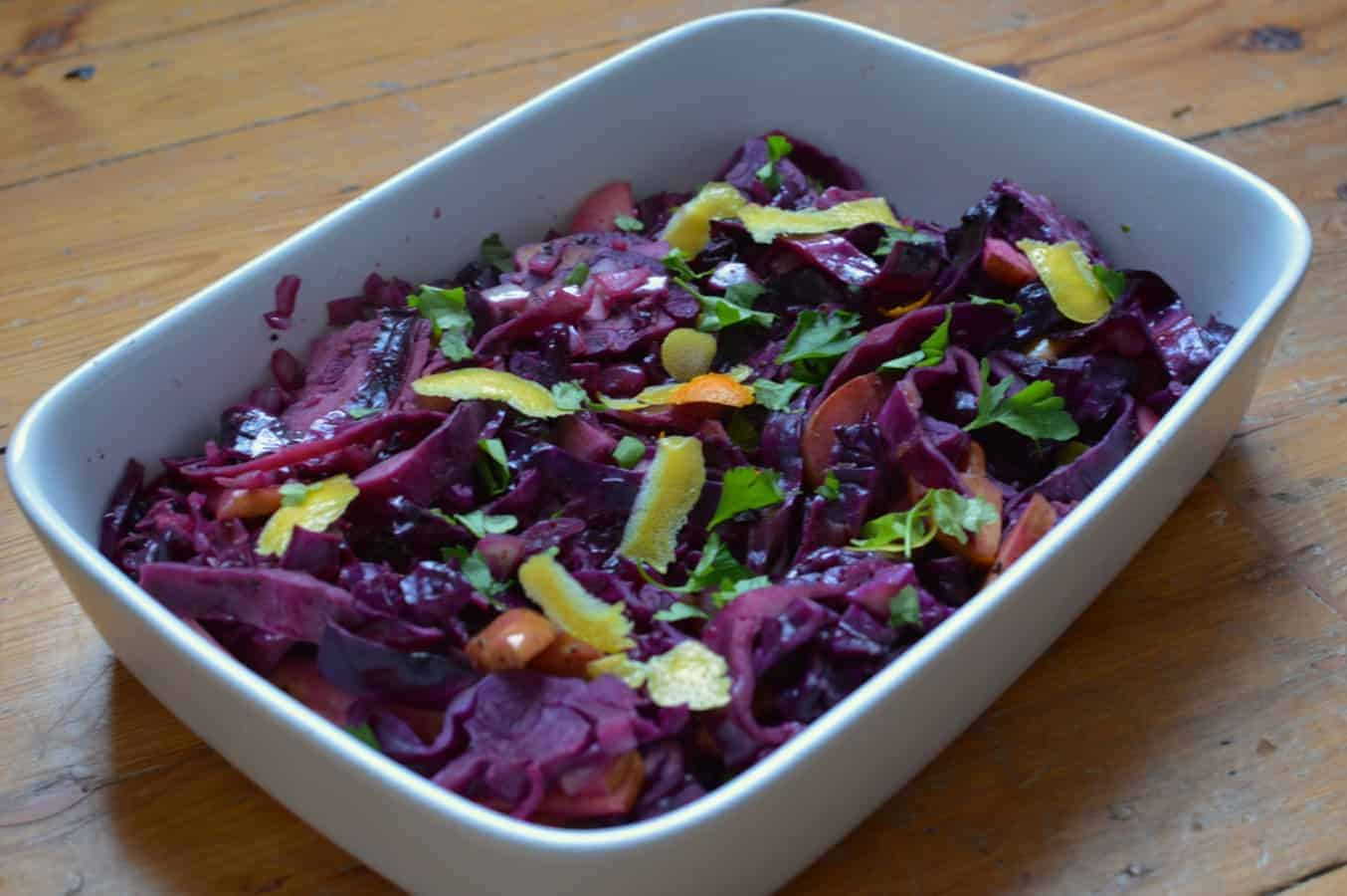 Red Cabbage with Apple and Orange