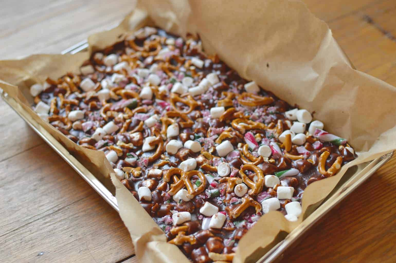 Candy Cane Pretzel Fudge
