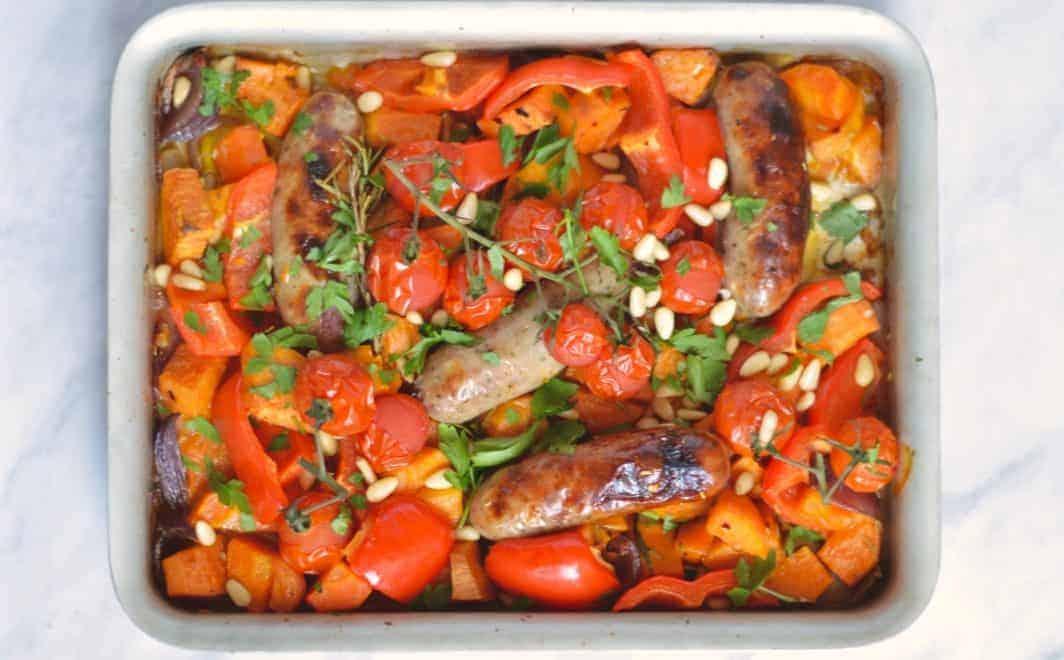 sausage tray bake